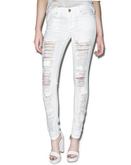 White Lines Spray On Skinny Jeans