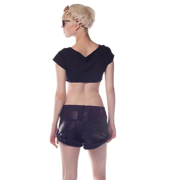 One Teaspoon Leather Patchwork Bandits Short