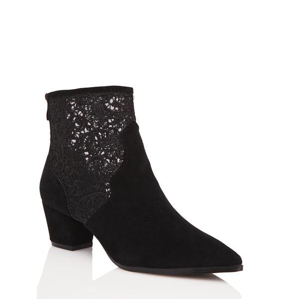 Public Desire Mona Lace Detail Western Ankle Boots