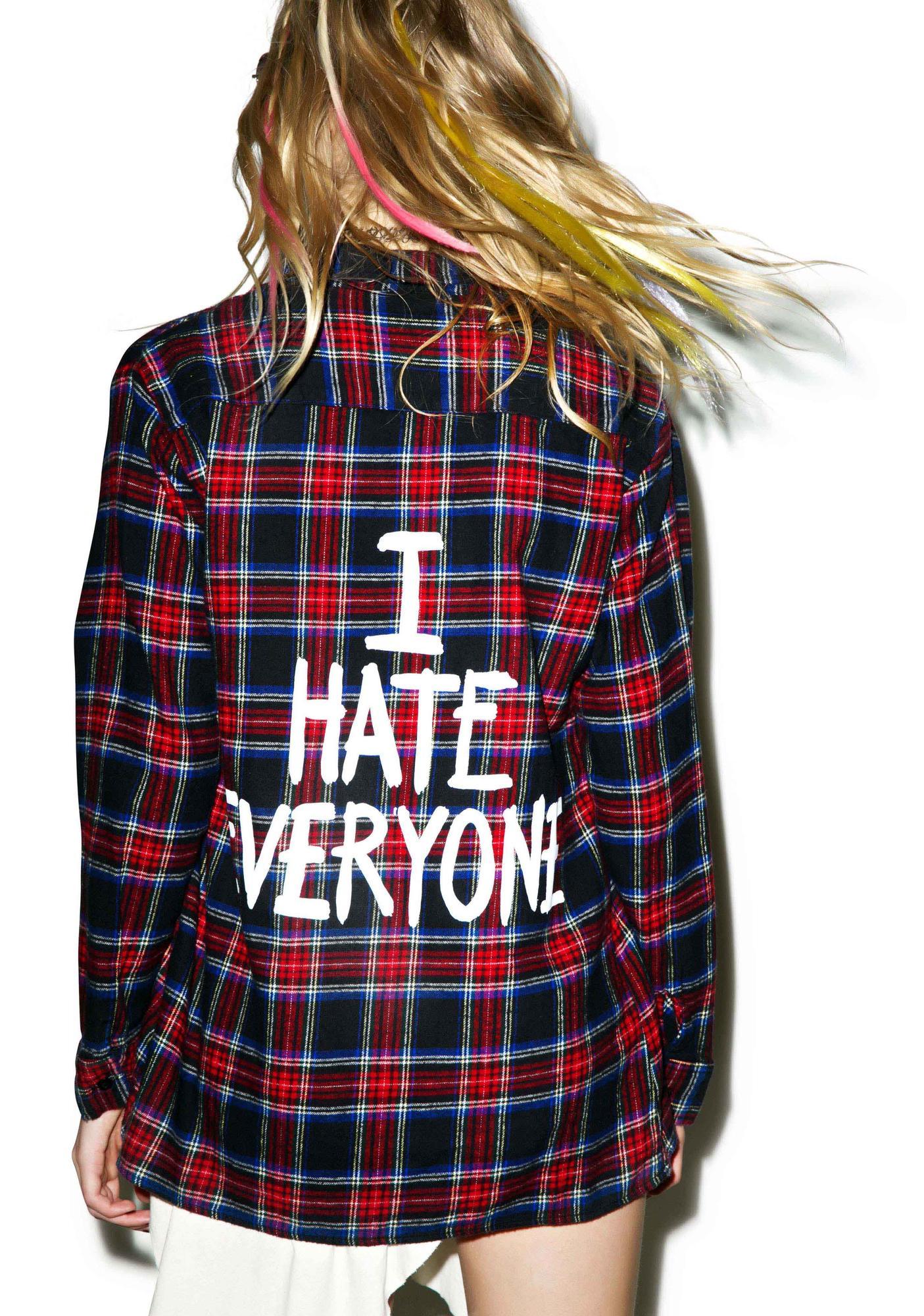 Jac Vanek I Hate Everyone Flannel Shirt
