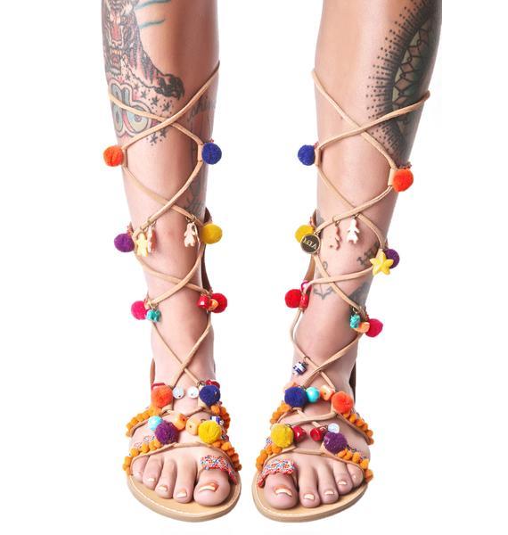 Reanna Pom-Pom Wrap Sandals