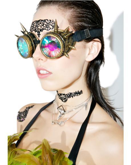 Brass Spike Kaleidoscope Goggles