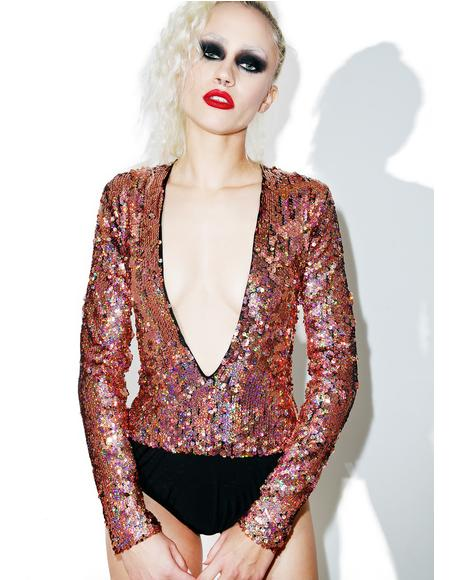 Plunge Neck Long Sleeve Sequin Bodysuit