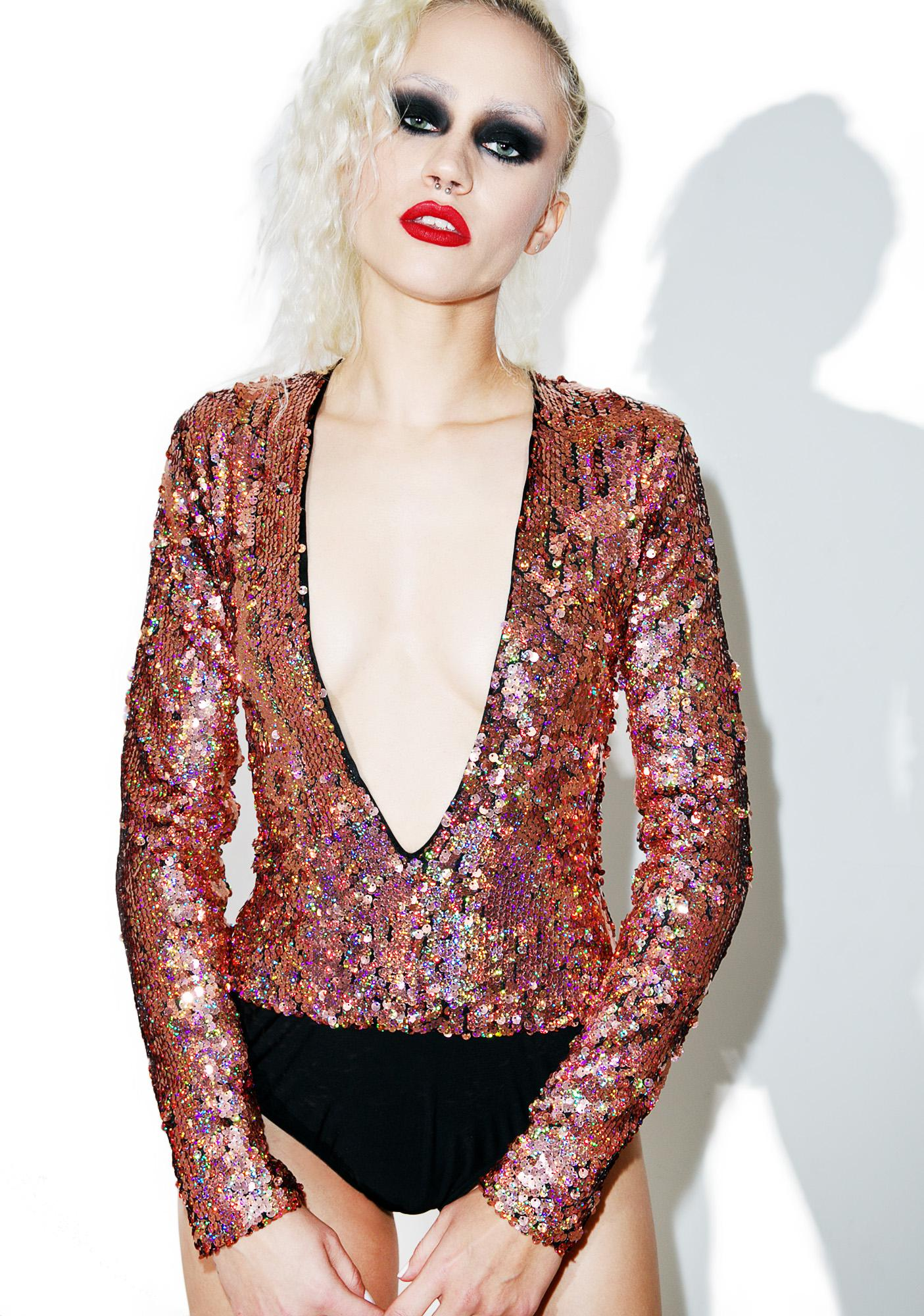 Jaded London Plunge Neck Long Sleeve Sequin Bodysuit