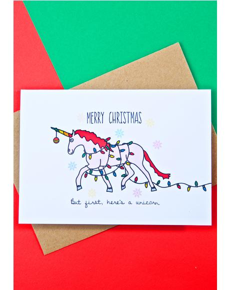 Christmas Unicorn Card