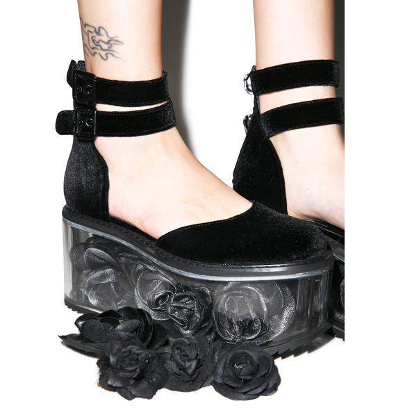 Dolly Bae Velvet Rose Platforms