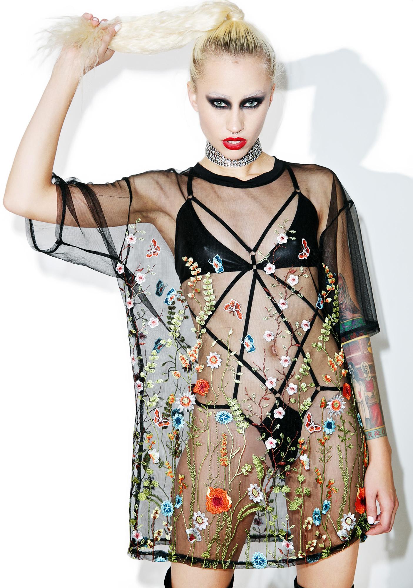 Jaded London Oversized Embroidered Mesh T Shirt Dolls Kill