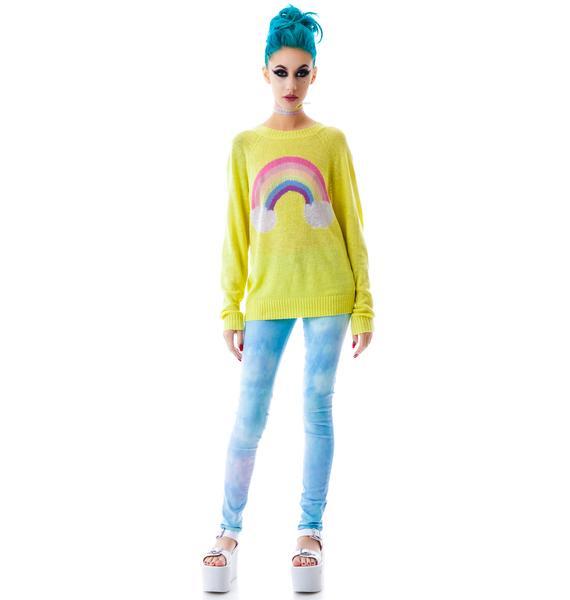 Wildfox Couture Island Rainbow Mini 70's Sweater