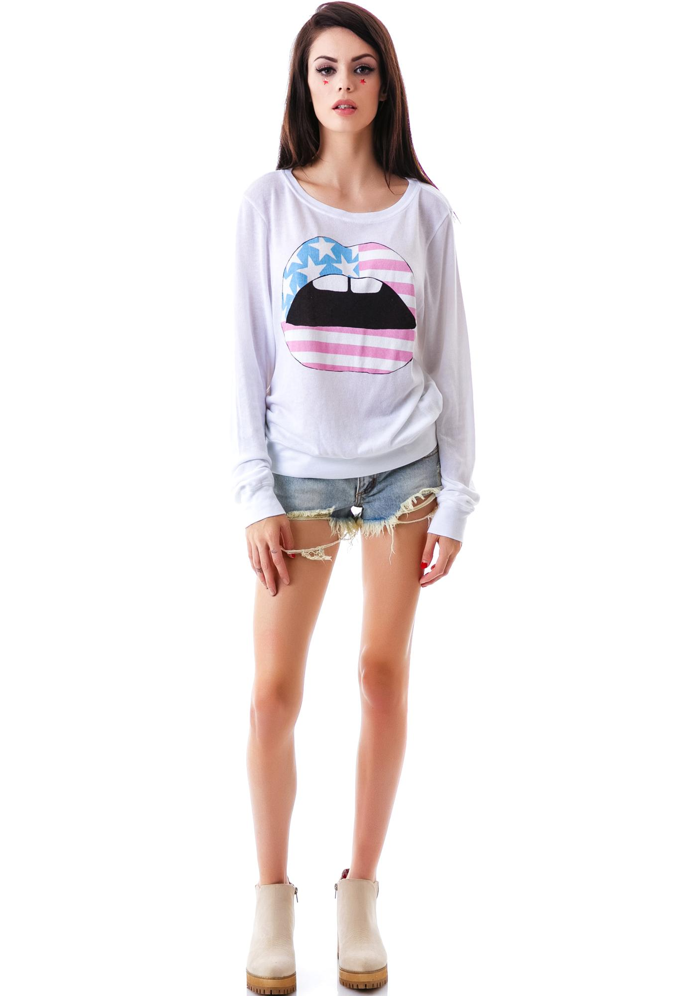 Wildfox Couture American Lips Baggy Beach Jumper