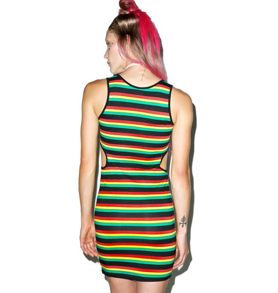 Motel Reggae Stripe Cullen Cutout Dress