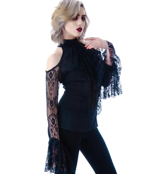 Lip Service Lace Chiffon Bell Sleeve Top