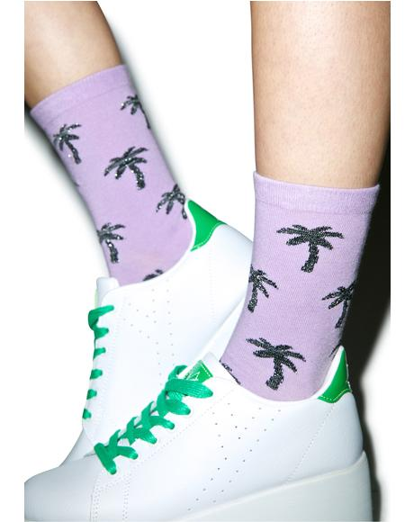 Glitter Palms Socks