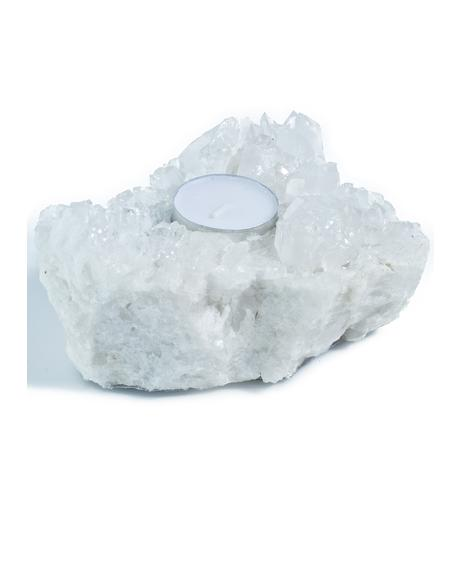 Clear Quartz Cluster Candleholder