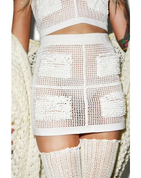Textured Crochet Mini Skirt