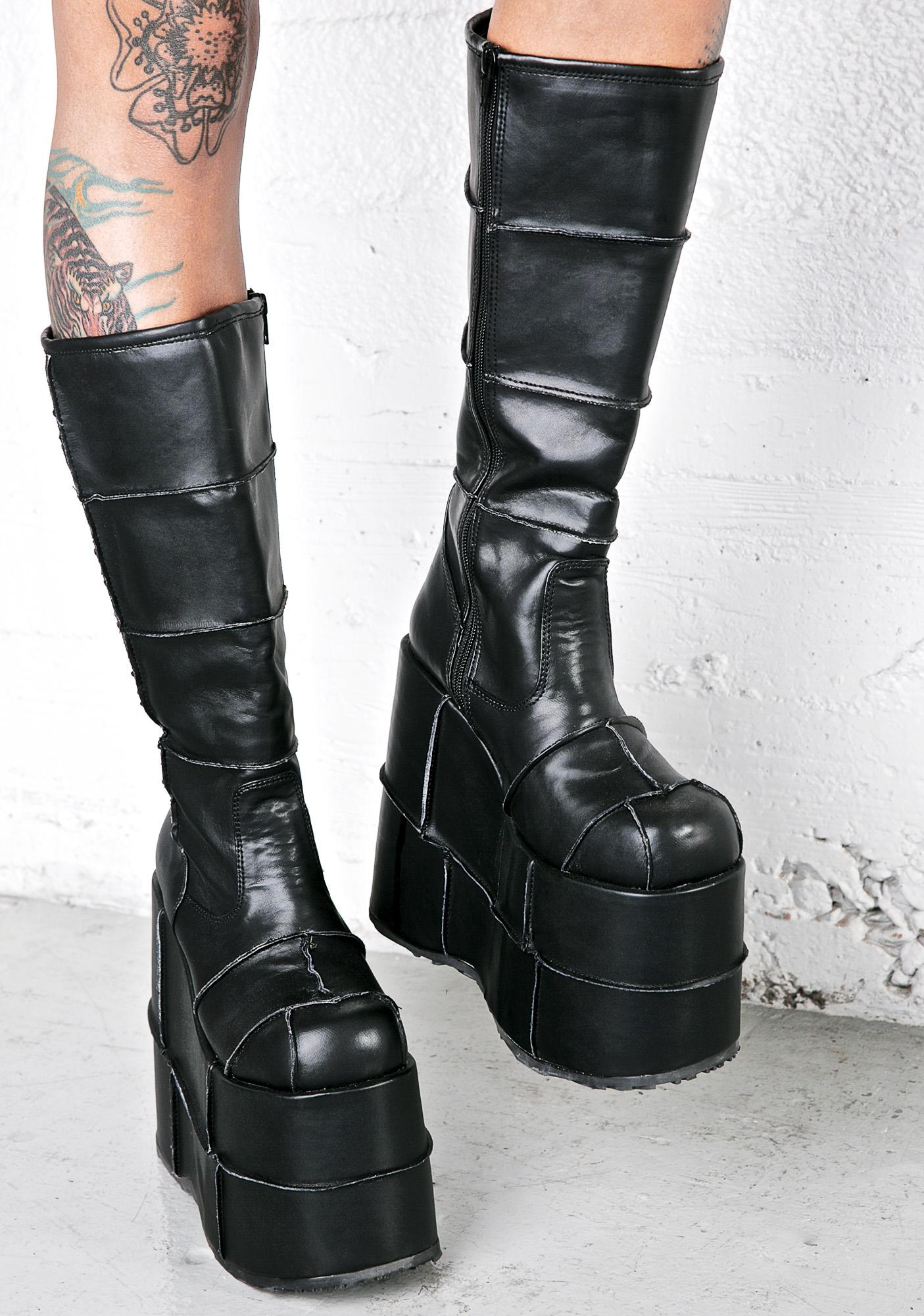 demonia stack patched platform boots dolls kill