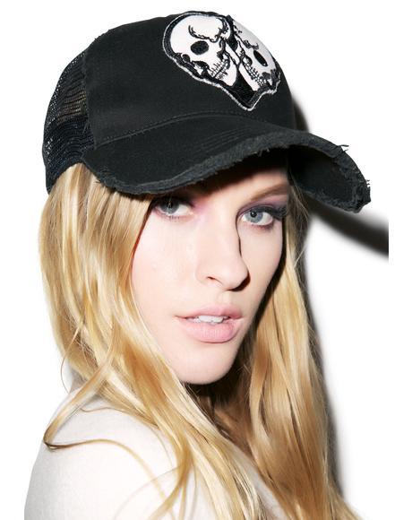 Jilly Skull Heart Patch Trucker Hat