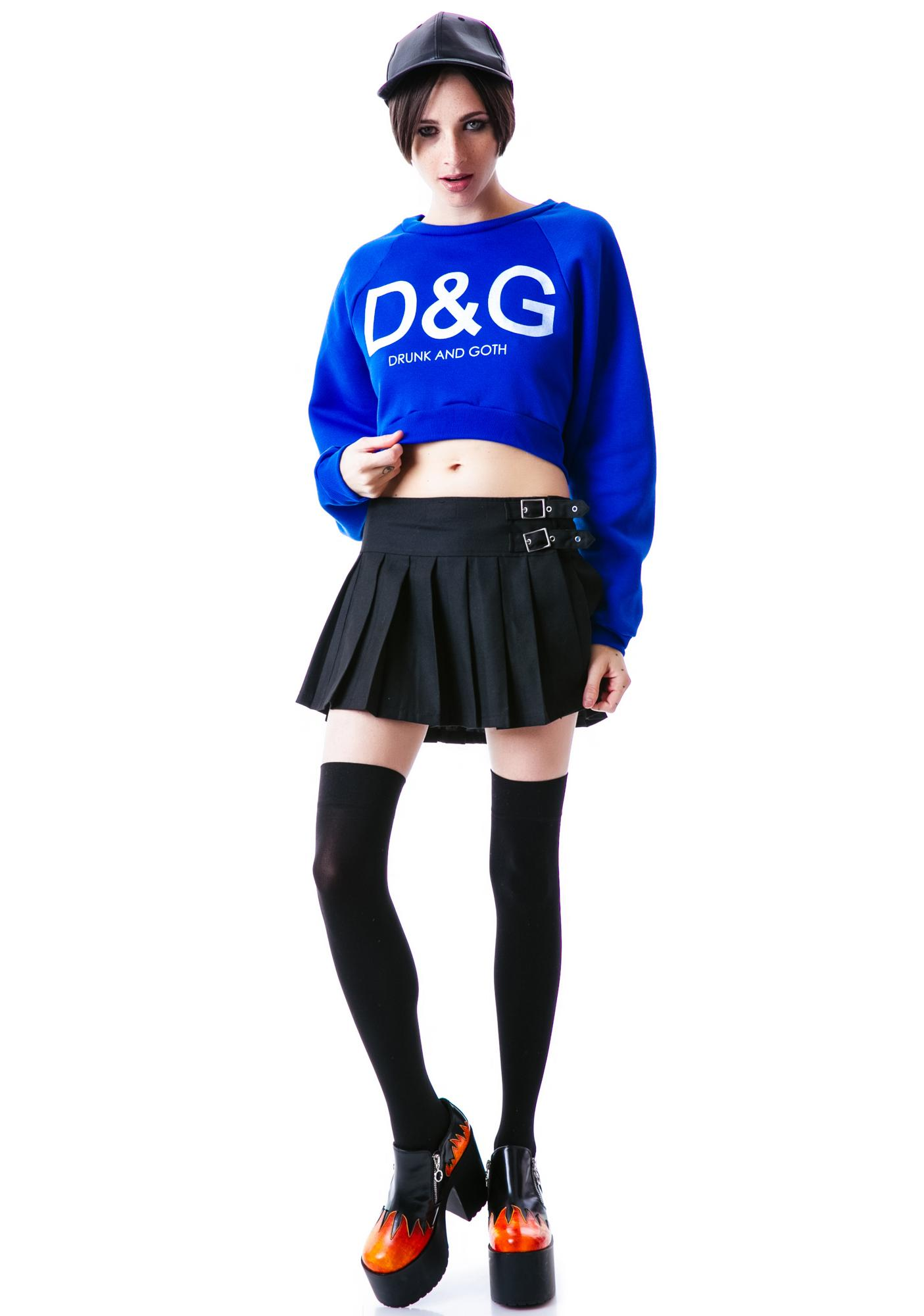 United Couture Drunk and Goth Cropped Sweatshirt