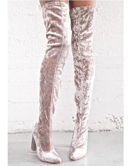 Smoke Planetary Thigh-High Boots