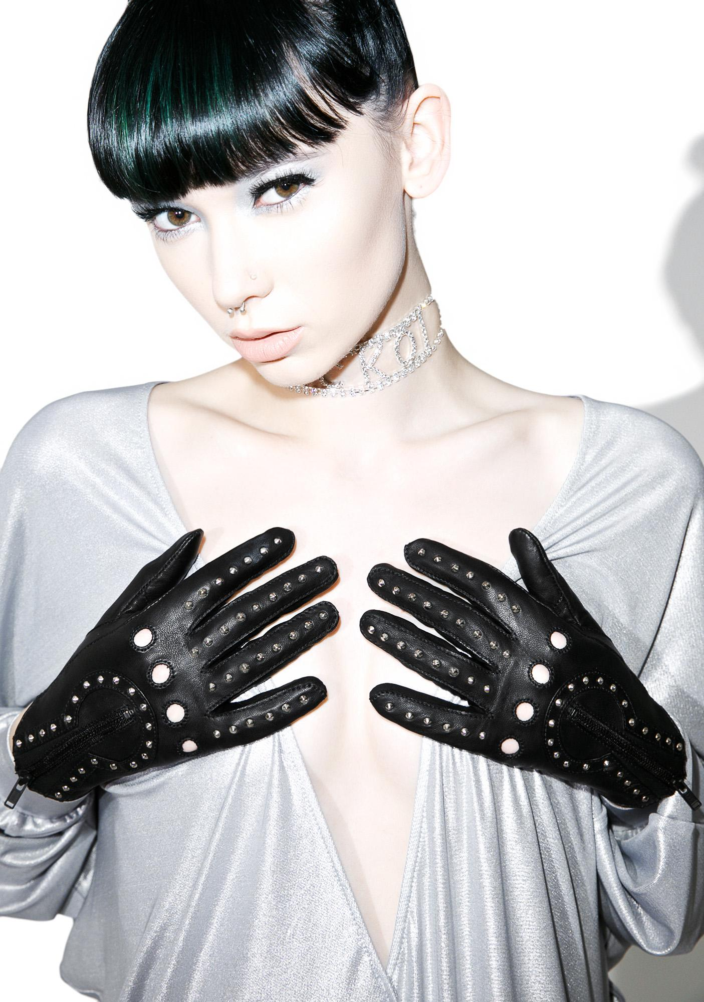 Majesty Black Studded Key Hole Gloves