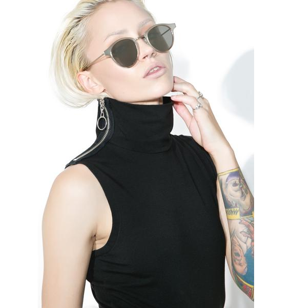 Slick Zip Turtleneck Muscle Tank
