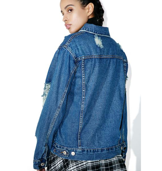 Dropout Distressed Denim Jacket
