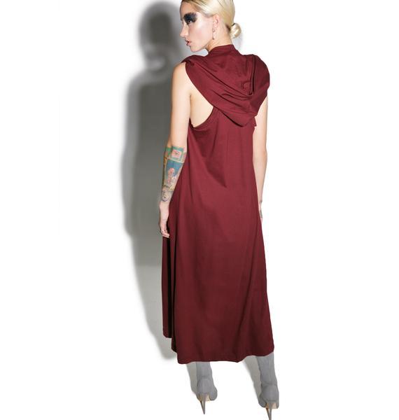 MNML Cryptic Crimson Hooded Maxi Dress