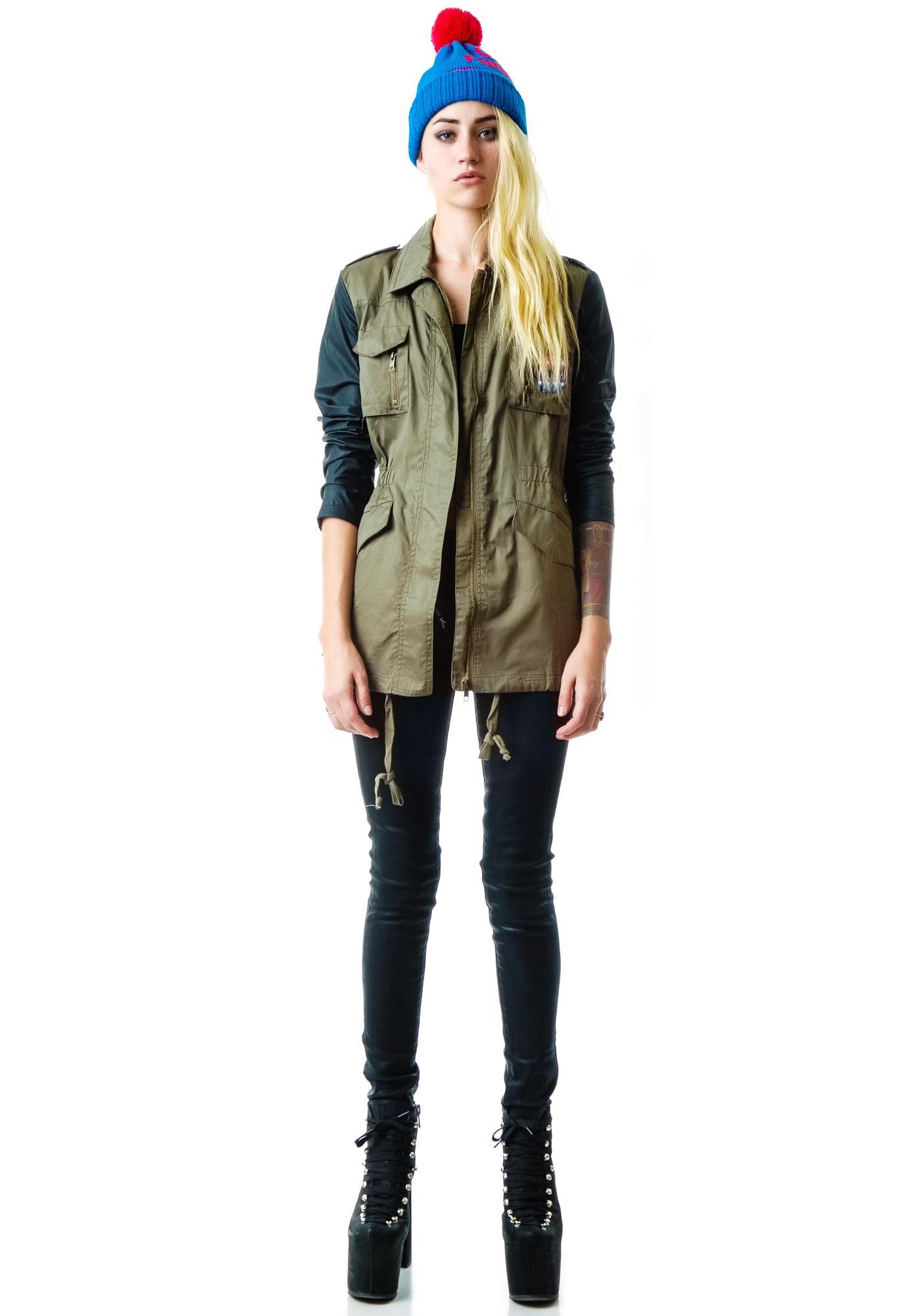 Title Track Leather Sleeve Surplus Jacket