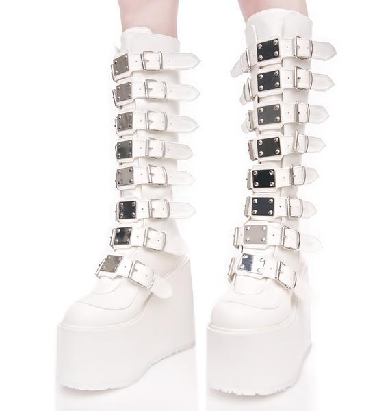 Demonia X Dolls Kill White Trinity Boots