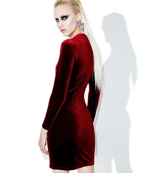 Glamorous Burgundy Halle Velvet Cut-Out Bodycon