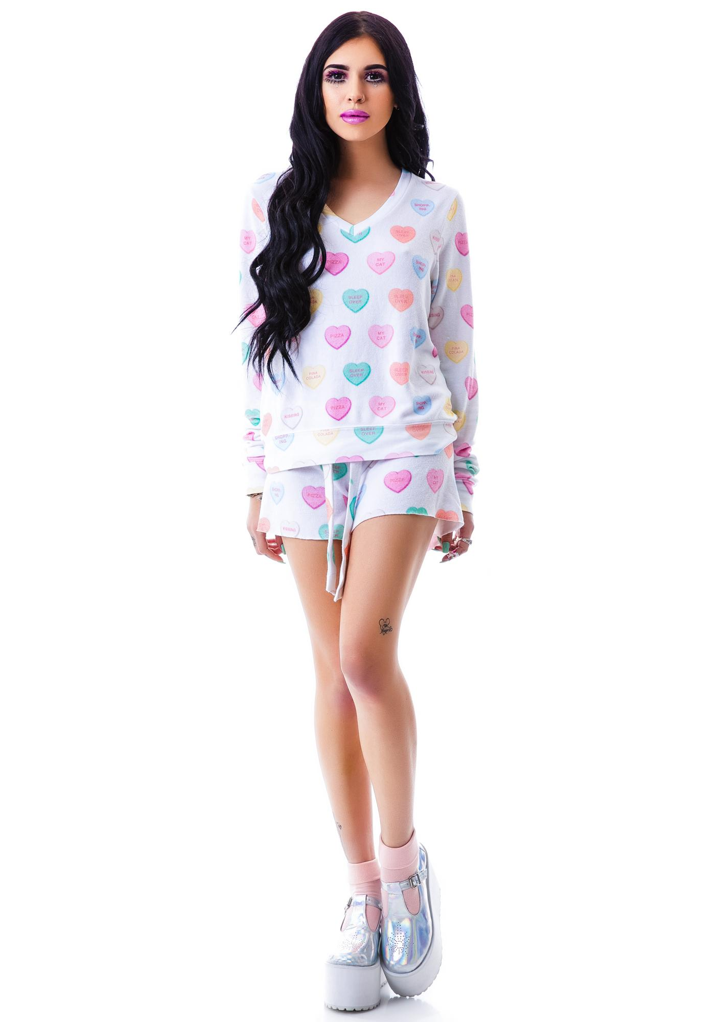 Wildfox Couture Sweet Heart V-Neck Baggy Beach Jumper