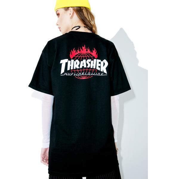 HUF X Thrasher Tour De Stoops Black Tee