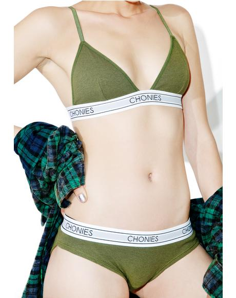 Olive Ribbed Brief