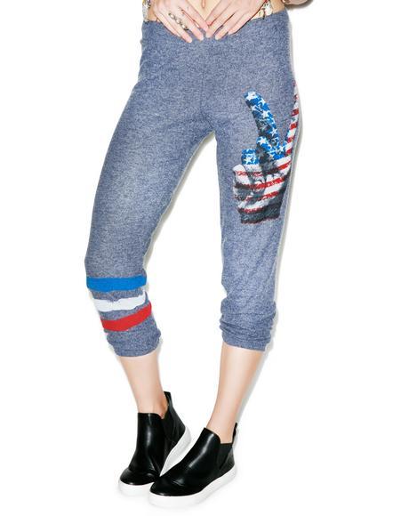 Alana Crop Peace Leg Sweat Pants