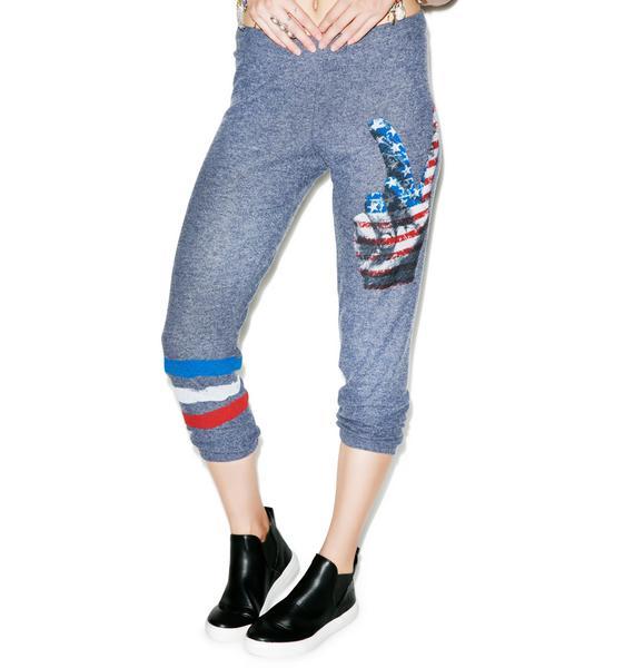 Lauren Moshi Alana Crop Peace Leg Sweat Pants