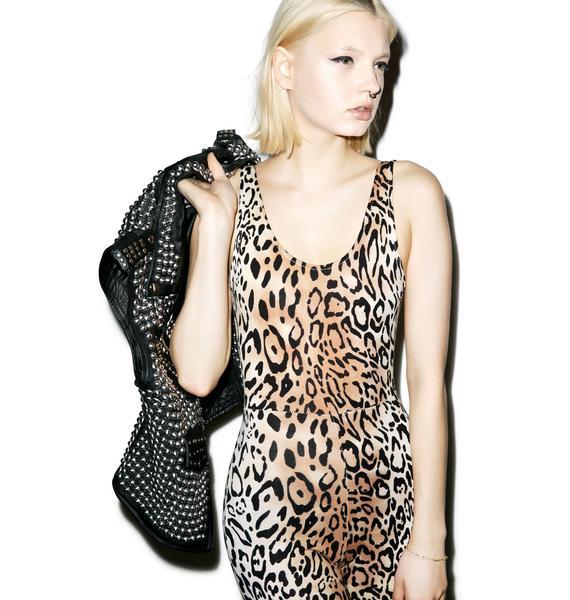 Motel Leopard Unitard Jumpsuit