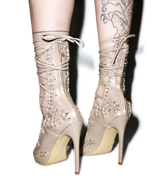 Privileged Rich Girl Lace Up Heels
