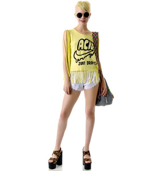 United Couture Drop Acid Long Fringe Tee