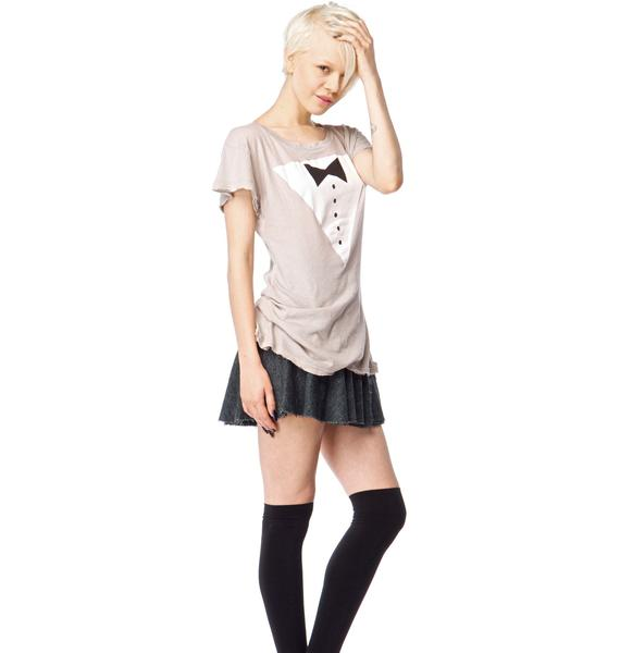Wildfox Couture Black Tie Hippie Crew Tee
