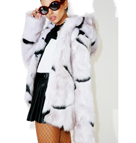 Glamorous Dreamscape Hooded Faux Fur Coat