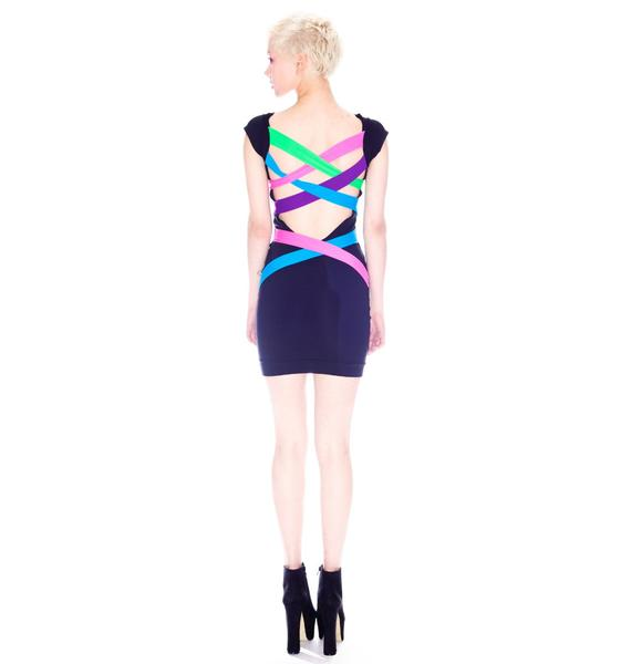 Neon Lattice Strap Back Dress