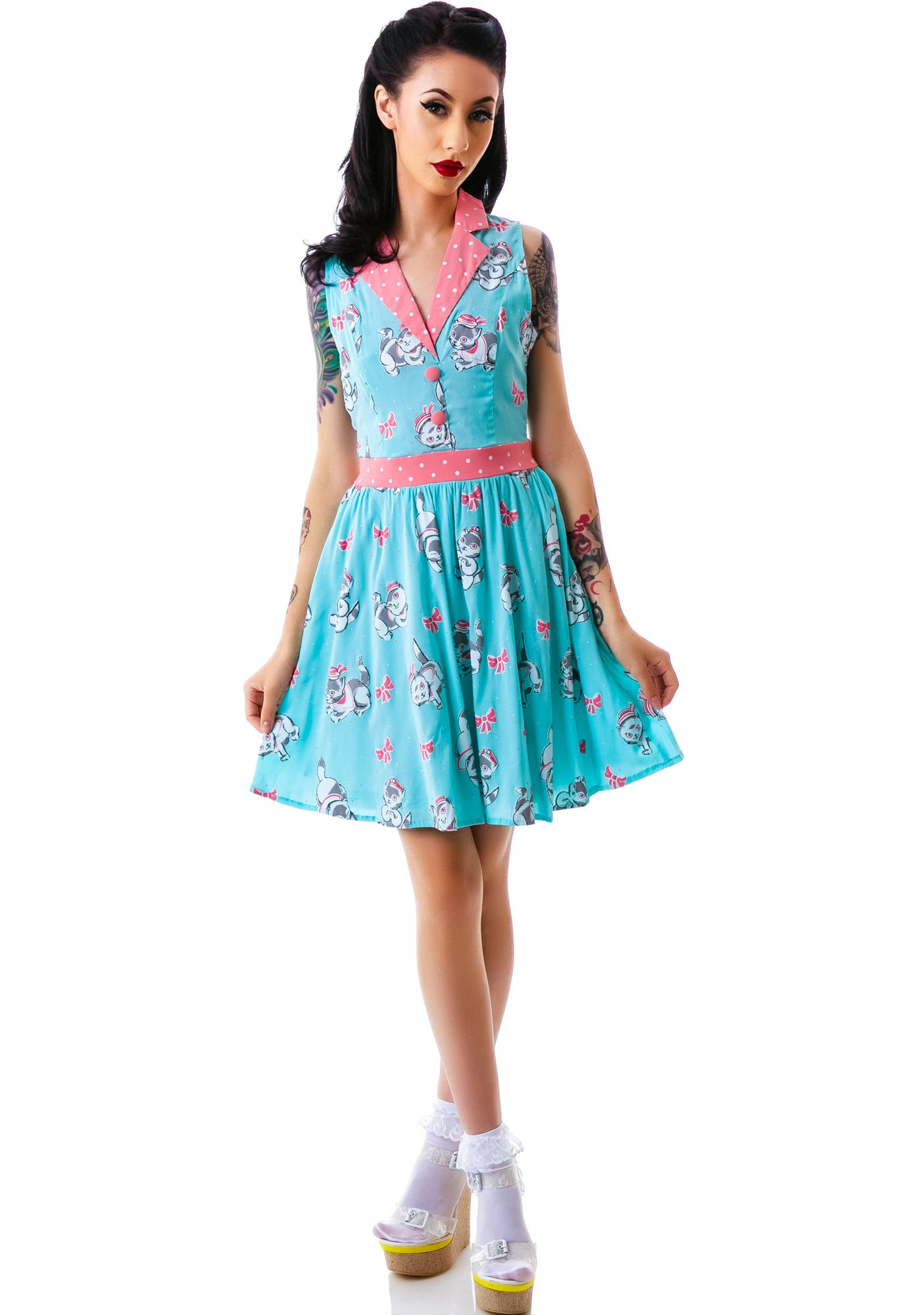 Sourpuss Clothing June Sailor Kitties Dress
