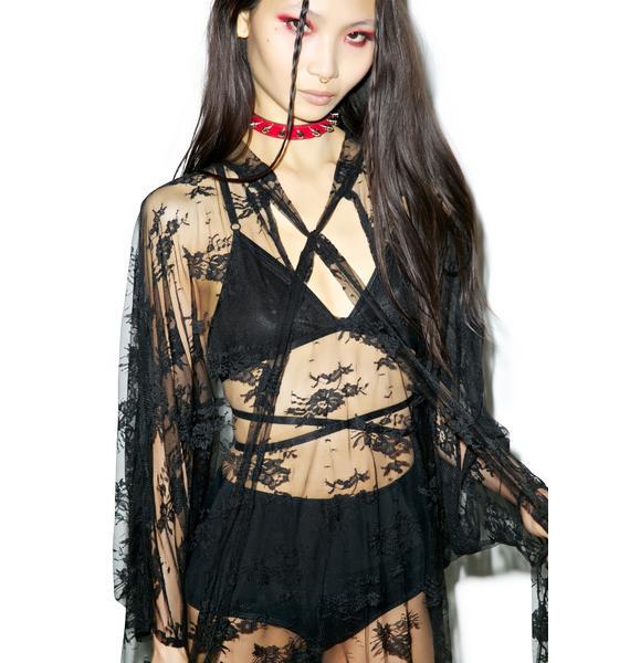Widow Death Wish Lace Batwing Dress