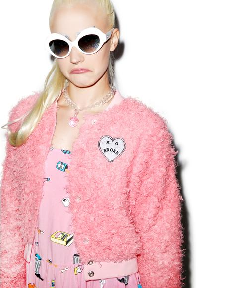 Fluffy Pink Bomber Jacket