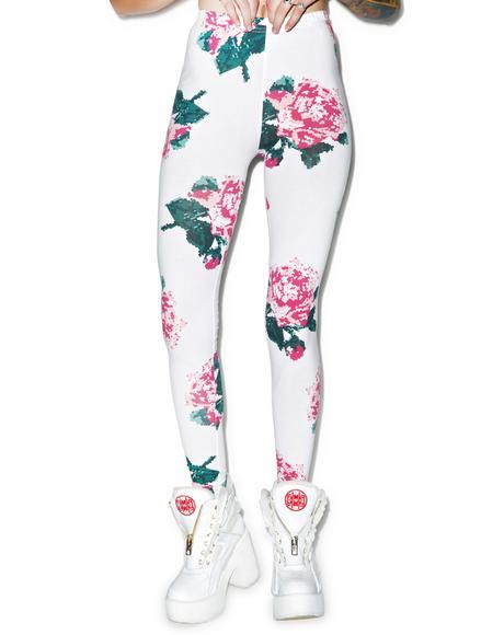 8bit Floral Leggings