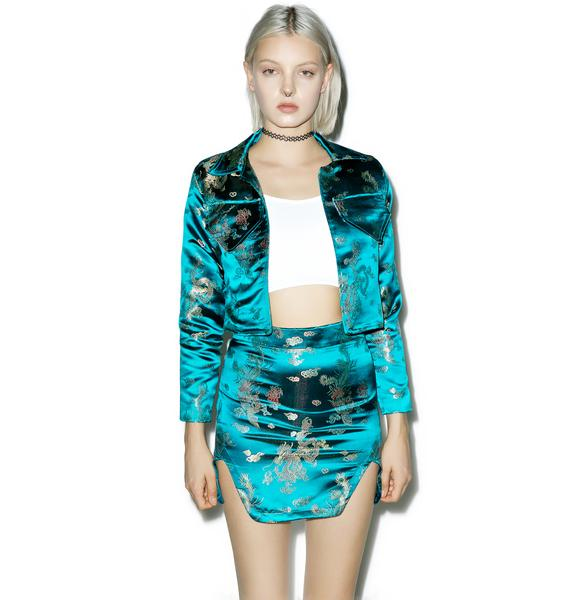 Isolated Heroes Green Embroidered Satin Skirt