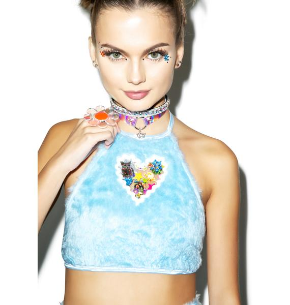 Indyanna Pastel Britney Faux Fur Crop Halter Top