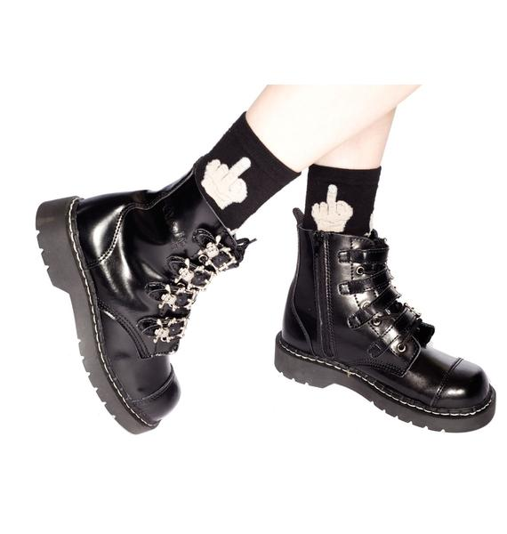 T.U.K. 4 Skull Buckle Leather Boots