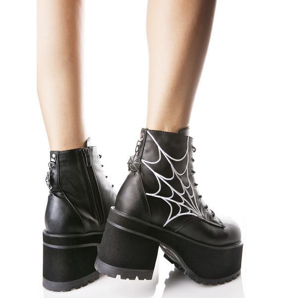 Demonia In Your Spiderwebz Platform Boots