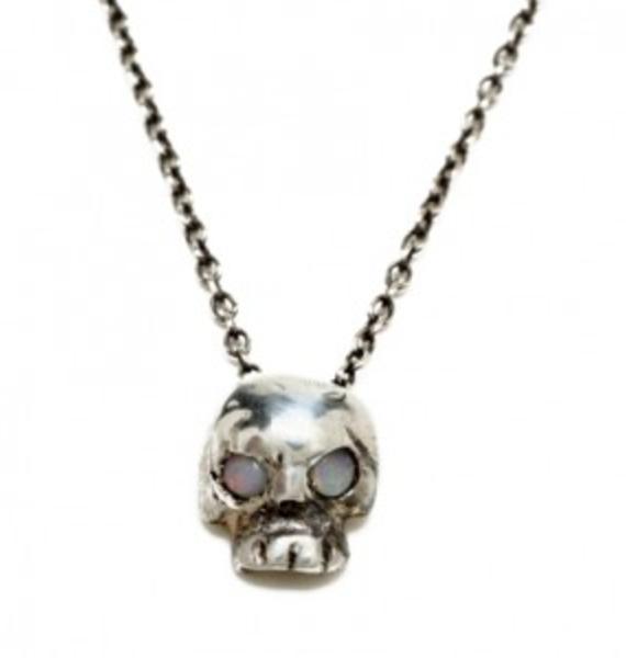 Opal Eyes Silver Mini Skull Necklace
