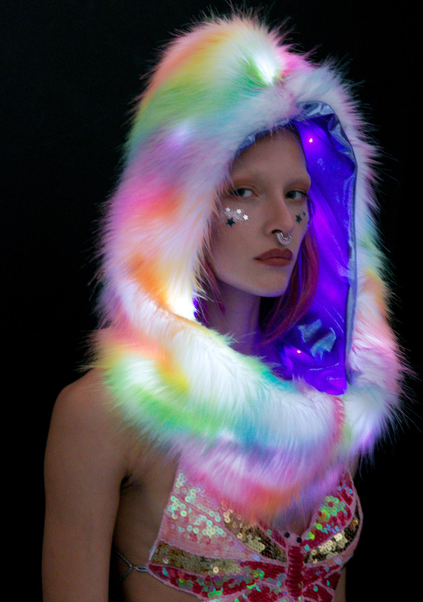 J Valentine Rainbow Light-Up Infinity Hood